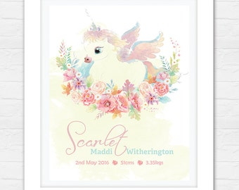 Birth Announcement Art - Nursery Decor - Bedroom Art - Unicorn Bedroom Decor - Newborn Print - Personalized Art!