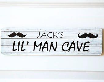 30x8cm Moustache Man Cave Customised Personalised Bedroom Nursery Door Sign