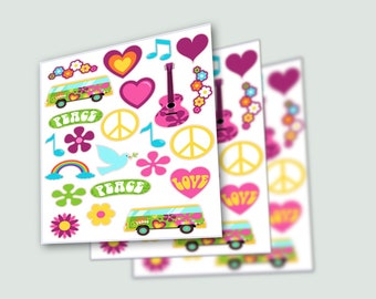Hippie Stickers,Hippie Party, Hippie Birthday, 60's, Peace Sign, Hippie Party Decor, Flower Child, Peace and Love, Peace Love Party, Groovy