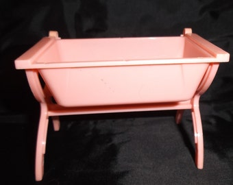 Vintage Doll Furniture Pink Baby Bed