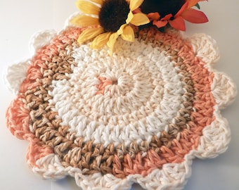 Floral Round Washcloth, USA Grown Cotton, US Shipping Included, Made to Order, Custom