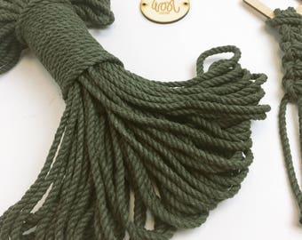 5mm Macrame Rope, Green Macrame Cord, Cotton Twisted Cord, Cotton Braid, Cotton String, Make a Plant Hanger, How to Macrame Guide,