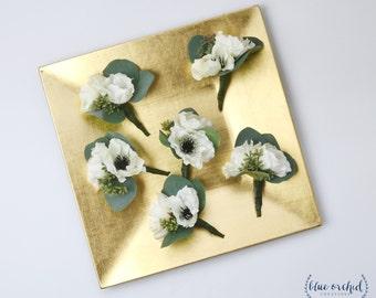 Boutonniere Set, Set of Boutonnieres, Silk Boutonnieres, Anemone Boutonniere, Wedding Flower Set, Groom Boutonniere, Silk Flowers, Anemones