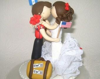 Traveler cake topper, tourist cake topper, custom wedding cake topper, unique wedding cake topper