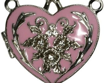 Heart Locket  Pink Enamel set with Crystals 35mm
