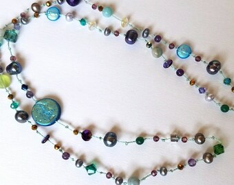 Purple Blue Green Beaded necklace With Swarovski Crystals and freshwater pearls & Amethyst