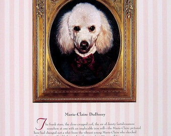 Dog Portrait - Marie Claire DuBossy, Sir Algernon Buncombe - 1993 Vintage Book Page - Whimsical Dog Art - 2 Sided - 10.25 x 8.25