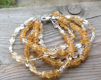 Pretty Five Strand Soft and Faceted Citrine Gemstone and Birthstone Bracelet with Citrine Dangle