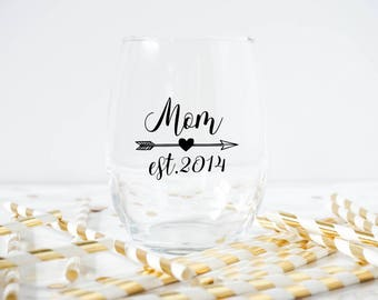 Mom Wine Glass- Mom Established- New Mother Gift- New Mom- Mom Established- Mothers Day Gift- Mothers Day Present