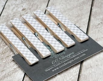 Gray Gingham Clothespin Magnets, Set of 5