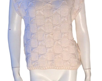 Lord & Taylor Ivory Mercerized Cotton Cross Stitch Sweater - Made in Italy - Size Medium