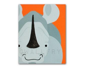Rhino nursery print. Safari artwork, jungle art, zoo decor animal for kids, animal nursery baby & child rooms playrooms in gray and orange