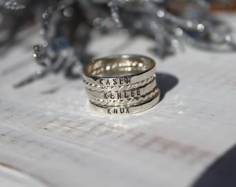 Personalized Rings- Sterling Silver Rings- Set of 5 Stacking Rings- Hand Stamped Silver Rings- Hammered Silver Rings