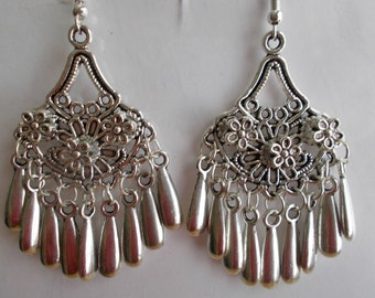 Silver Tone Chandelier Earrings with Silver Tone Teardrop Dangles and Flower Charms