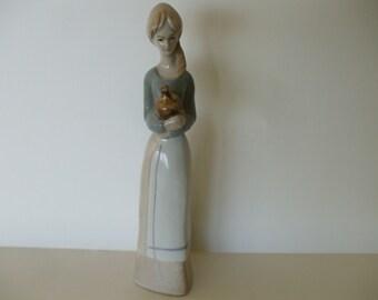 Llado Like Girl Holding Jug Figurine, Vintage,  1970's ,  Nao, Gifts, Home Decor #4793