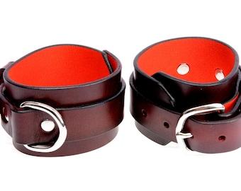 BDSM Wrist Cuffs, Leather Wrist Cuffs With D Ring, Dark Red Leather Wrist Cuffs, Handmade BDSM, Wrist Cuffs With D Ring Over 18's only.