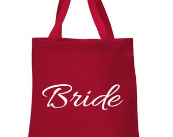 BRIDE BAG, Bride to be, Bridesmaid gift, Maid of Honor Gift, Mother of the Bride Bridal Party Bags