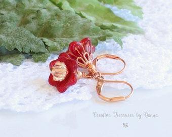 Copper Earrings, Red Bell Flower Czech Glass Beads, Swarovski Crystals, Victorian Earrings, Red Earrings, Flower Earrings, Gift For Her
