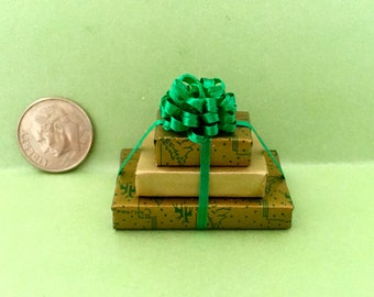 Triple Stacked Christmas Packages w Fluffy Green Bow