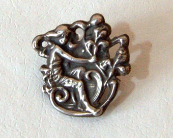 Sterling Silver Art Nouveau Pin Seated Maiden/Nymph with Flowers