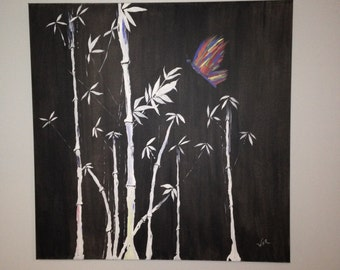 Large painting - bamboo painting - butterfly painting - Acrylic painting - zen painting - office painting - hotel painting
