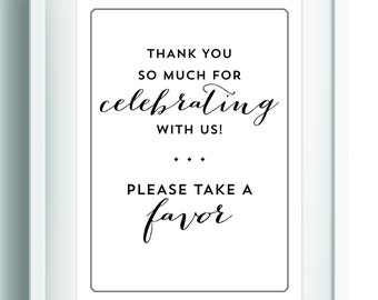 Party Favor Sign ~ Printable Wedding Sign ~ Wedding Reception Sign ~ Party table sign ~ Reception Decor ~ Party Decor ~ Bridal Shower Sign