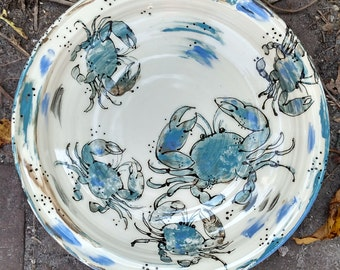 Blue Crab Bowl - Large - Hand Painted