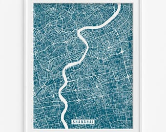 Shanghai Print, China Poster, Shanghai Poster, Shanghai Map, China Print, Street Map, China Map, Wall Decor, Fathers Day Gift