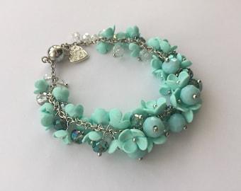 Mint Polymer Clay bracelet. Handmade bracelet.