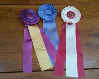Vintage Equestrian Horse Dressage Ribbon Awards Set of 3