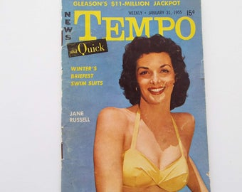 """Vintage 1955 Tempo & Quick Magazine """"Digest"""" Size Jane Russell Marilyn Monroe Fashion News Entertainment"""
