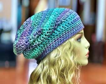 Blues, Purples and Greens Slouchy Crochet Hat
