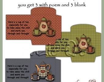 Tea Bag or Coffee Single Envelopes - Digital Printable - Immediate Download