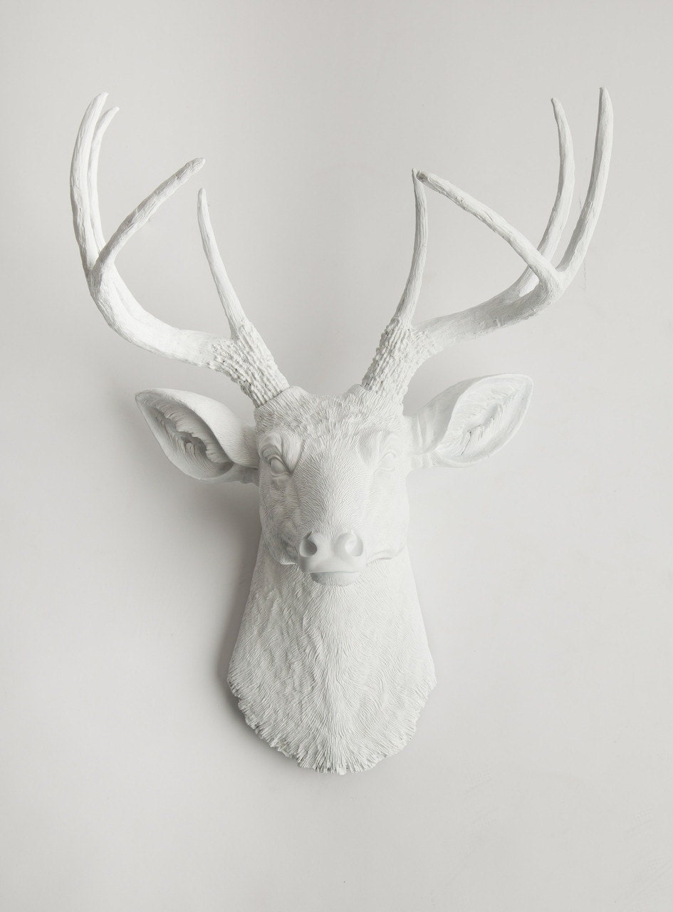 Deer head wall Mount, large white deer sculpture, The Templeton by White Faux Taxidermy