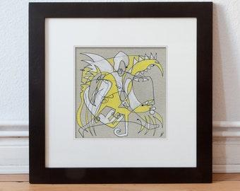 Art image 15/15 cm (5.9/5.9 inch) Colors: grey, white, yellow, black