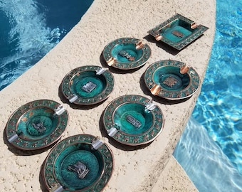 Set of 7 Vintage Copper, silver Peruvian etnic Ashtrays, featuring Mayan symbols, animals