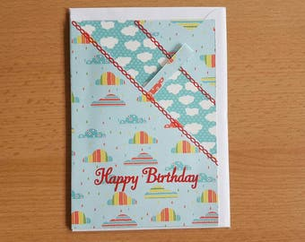 Cloud Birthday Card. With Money Pouch
