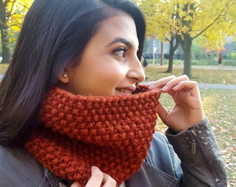 The Peppercorn Cowl | Seed Stitch Cowl | Textured Cowl | Chunky Cowl | Knit Neckwarmer | Orange Knitted Cowl | Knit Cowl | Winter Scarf