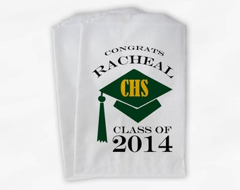 2018 Graduation Cap Personalized Candy Buffet Bags - High School Grad Party Custom Favor Bags in School Colors - Set of 25 Bags (0060)