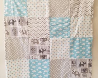 Blue and Gray Elephants and Clouds Baby Flannel Rag Blanket Quilt