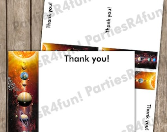 Outer Space Solar System Thank You Cards Birthday Baby Shower INSTANT DOWNLOAD