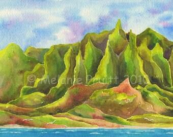 11x14 Kauai Na Pali Coast Painting by Melanie Pruitt as seen at Marriott Kauai Hawaii EBSQ SFA