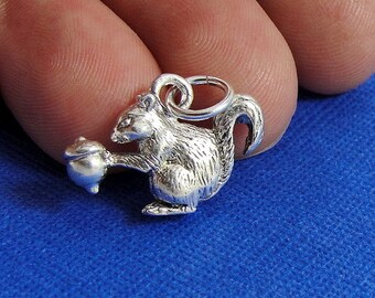 Squirrel Charm - Silver Squirrel Charm for Necklace or Bracelet