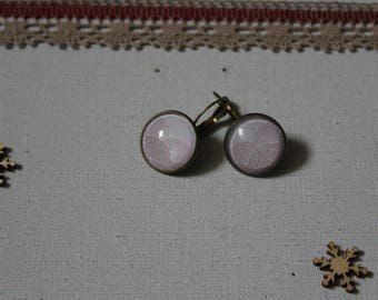 Earrings, Rainbow, pink, glass cabochon