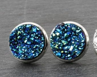 Blue Druzy stud earrings, Bleu druzy earrings, faux druzy earrings, Blue sparkly earrings, druzy post earring,  Blue druzy studs, Canada