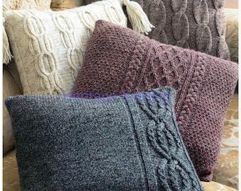 cushion cover set aran knitting pattern 99p