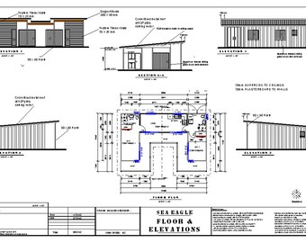 2 Bed | Shipping Container Home 68.0  m2 or 731 sq ft  | Full  House Plans | Blueprints