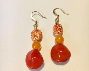 Orange Speckled Earrings