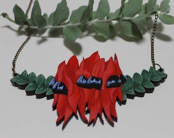 Sturt's Desert Pea Bib Necklace-Statement Flower Necklace-Australian Pendant-Flower Collar Necklace-Australian Native Flowers-Eco Jewellery