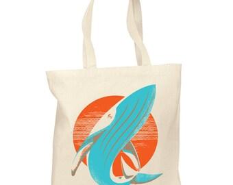 Sun Whale Screenprint Tote Bags